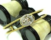 Steampunk Bracelet Light Topaz Gold Swarovski Vintage 17 Jewels Watch Movement Designed by Mystic Pieces