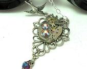 Sparrow Neo Victorian Steampunk Necklace Vintage Watch Exclusive Design by mysticpieces