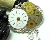 Steampunk Gears Vintage Dials Brooch OOAK Locket Key Exclusive Design By Mystic Pieces