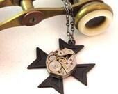 Steampunk Cross OOAK Necklace Noir Gothic Vintage Watch Gunmetal Exclusive Design By Mystic Pieces