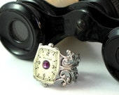 Purple Steampunk Vintage Waltham Dial OOAK Victorian Ring Filigree Designed by Mystic Pieces
