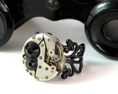 Noir Steampunk Ring Filigree Vintage Watch Movement Industrial Gothic Designed by Mystic Pieces