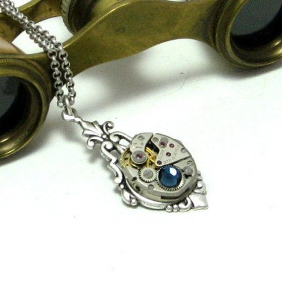 Enchanting Steampunk Necklace Vintage Watch Movement Swarovski Neo Victorian By Mystic Pieces
