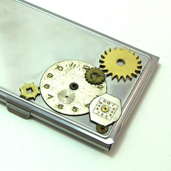Vintage Gears Steampunk  Business Card Case Old Watch Dials Exclusive Design By Mystic Pieces