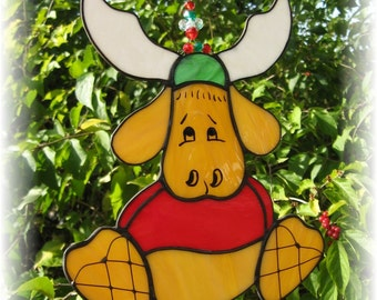 Christmas Moose with Snowshoes Stained Glass Suncatcher