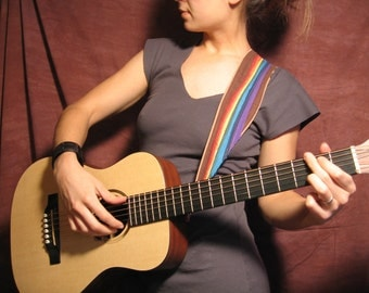 Guitar Strap- Frayed Rainbow design- Featuring Black or Brown Hemp/Tencel Linen-music-gifts for musicians-handmade-canvas-unique gifts-pride