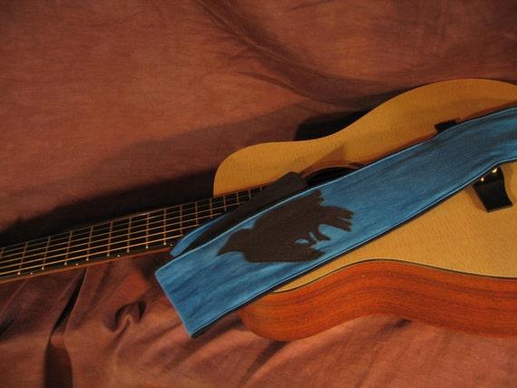 Vegan Guitar Strap, Murder of a Crow Design