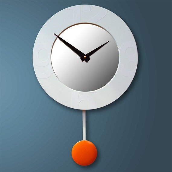 Stella modern wall clock with mirror and pendulum - Contemporary wall clocks with pendulum ...