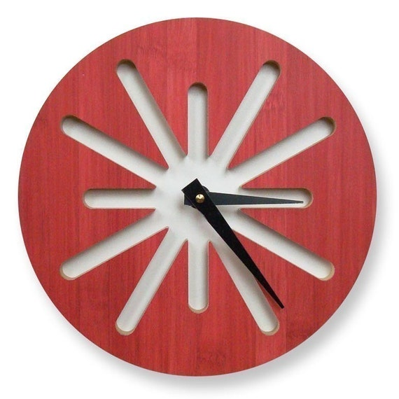 Splat Red Bamboo Modern Wall Clock