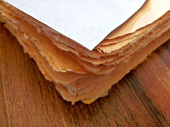 10 handmade paper sheets 8.5x11 orange inch recycled paper
