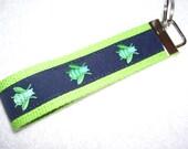 Key Fob Wrist Key Chain Preppy Bees Fireflies on Lime Green