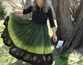 Green and Black Silk Skirt, Handmade and Dyed