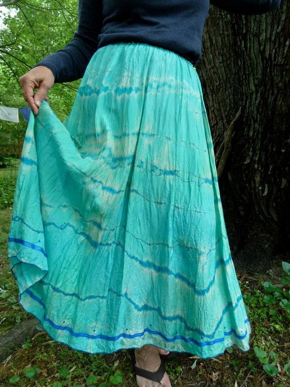 Dreamy Sea Foam Long Gypsy Skirt