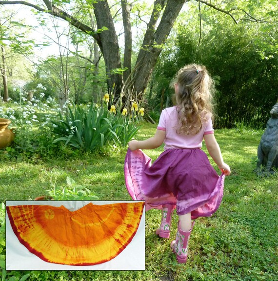 Gypsy Yellow, Orange and Crimson Size 6 Twirl Skirt with Shibori for Young Girls