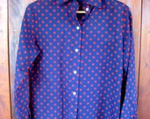 Vintage Navy Polka Dot Blouse