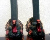 vintage autumn turkey candleholders
