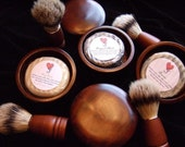 MEN'S HARDWOOD Shaving Kit with SHAVING Soap with Rhassoul and Bentonite Clays