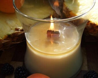 HAWIIAN HULA LUAU all Natural Soy  Candle with English Walnut Wooden Wick Scented  Sweet Blackberry  Grapefruit Pinapple and Creamy Coconut