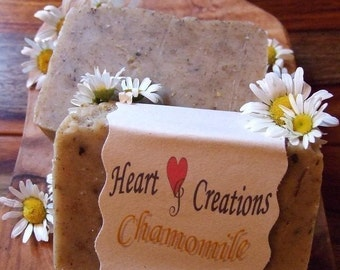 CALMING CHAMOMILE 5 OZ Large Handmade Soap Bar Olive Oil Infused  with Chamomile Buds (Vegan Friendly)