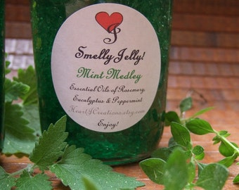 MINT MEDLEY 8 oz Smelly Jelly Air Freshner of Rosemary Eucalyptus and Peppermint