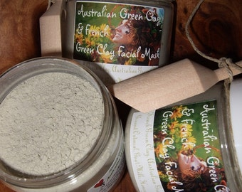 AUSTRALIAN and FRENCH GREEN Clays with Goats Milk & Honey Powder / Fresh Ground Oatmeal