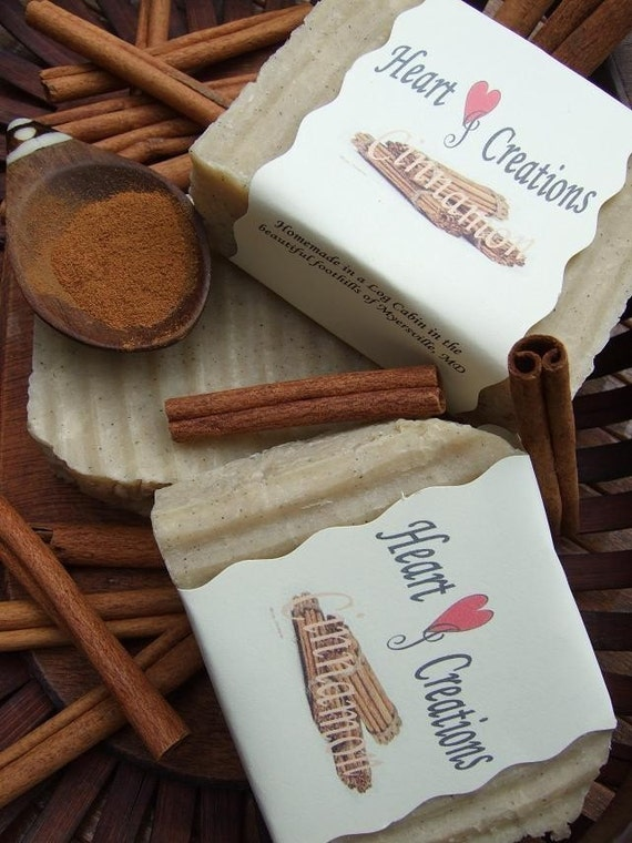 CINNAMON ESSENTIAL OIL 5 OZ LARGE Handmade Soap Bar with GROUND CINNAMON  (VEGAN FRIENDLY)