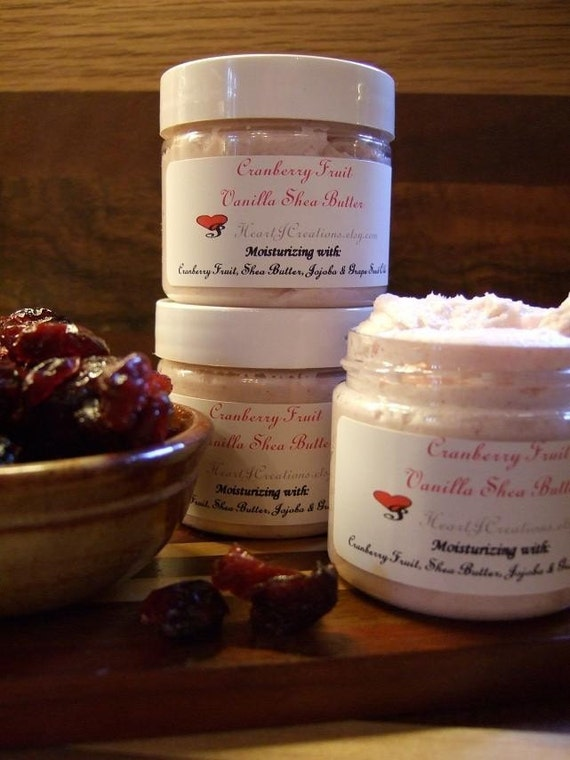 CRANBERRY FRUIT VANILLA Shea Butter with Real Cranberries High in Anti Oxidant Properties Vegan Friendly