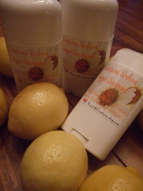 Vegan Deodorant CAPTURED SUNSHINE All Essential Oils of Lemon Lime Orange and Grapefruit