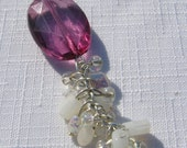SALE- Purple Oval Y Necklace