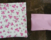 PRINTS Pink Flowers on Green set