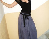 Day and Night jersey skirt grey long skirt maxi skirt and sash gypsy skirt grey skirt
