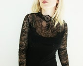 Gothic black blouse gothic black lace top black victorian blouse black blouse black cotton blouse