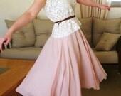 Blush pink chiffon skirt full circle long skirt blush pink maxi skirt blush pink long skirt skirt