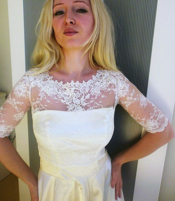 Reserved for Siobhan Stabler Kiss Me In BARILOCHE ivory bridal lace top ivory  lace top ivory lace blouse bridal bolero jacket