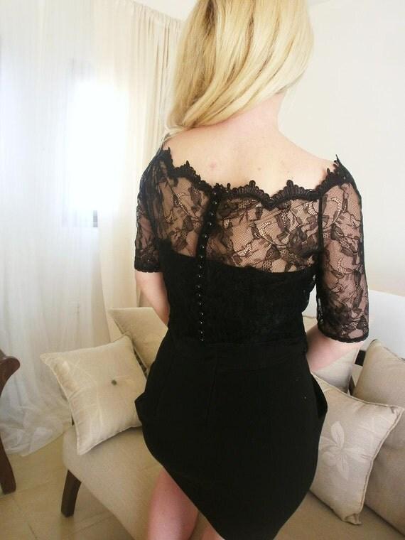 Elizabeth bridal black lace blouse with victorian neckline black lace top black victorian blouse black blouse
