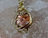 Copper coin pearl wrapped with 14K gf wire