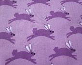 Half Yard - Hand-printed cotton fabric - purple bunny rabbit