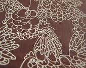 Hand printed cotton fabric - Chocolate chicken doodles - Rare