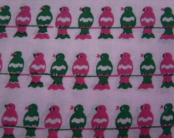 Half Yard - pink and green bird on a wire - limited hand printed fabric