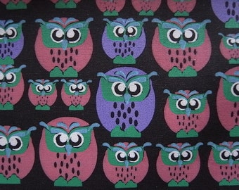 OWL FAMILY hand printed cotton fabric - half yard