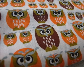 Marmalade Owls hand printed cotton fabric - half yard