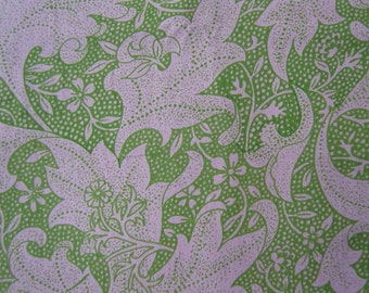 HAND PRINTED rose pink green floral asian inspired cotton fabric