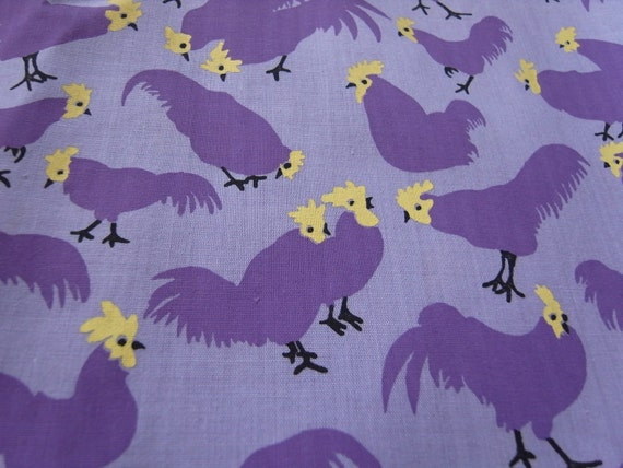 Last Piece - Purple Chickens Hand Printed Cotton Fabric