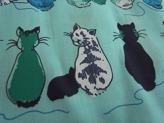 Reserved for Teresadoula - Hand Printed Fabric - Cheeky Cats Blue Sky - Half Yard