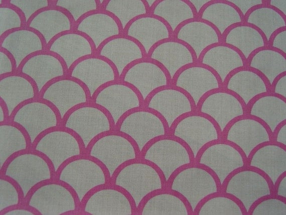 Reserved for ferris28 - Hand-printed pink cute cotton fabric fish-scale pattern