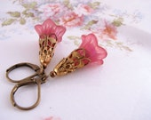 Mulberry pink shabby lucite flowers vintage brass filigree