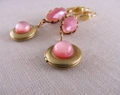 Earrings with pink glass and lockets shabby chic