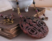 Brown jade pendant Necklace with Ruby and Pietersite