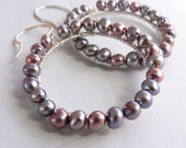 June Birthstone Silver mauve earrings with fresh water pearls