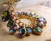 Rainbow bracelet with vintage Iris and Vitrail rhinestones